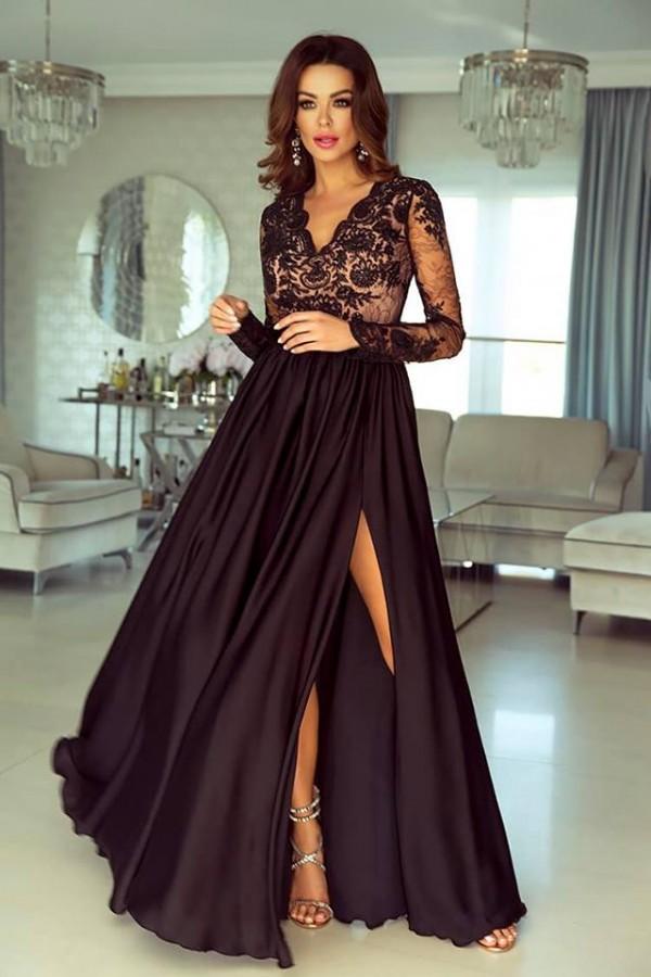 bcff14d0cc09 Luna dress čierno-béžové - Luxusné spoločenské šaty