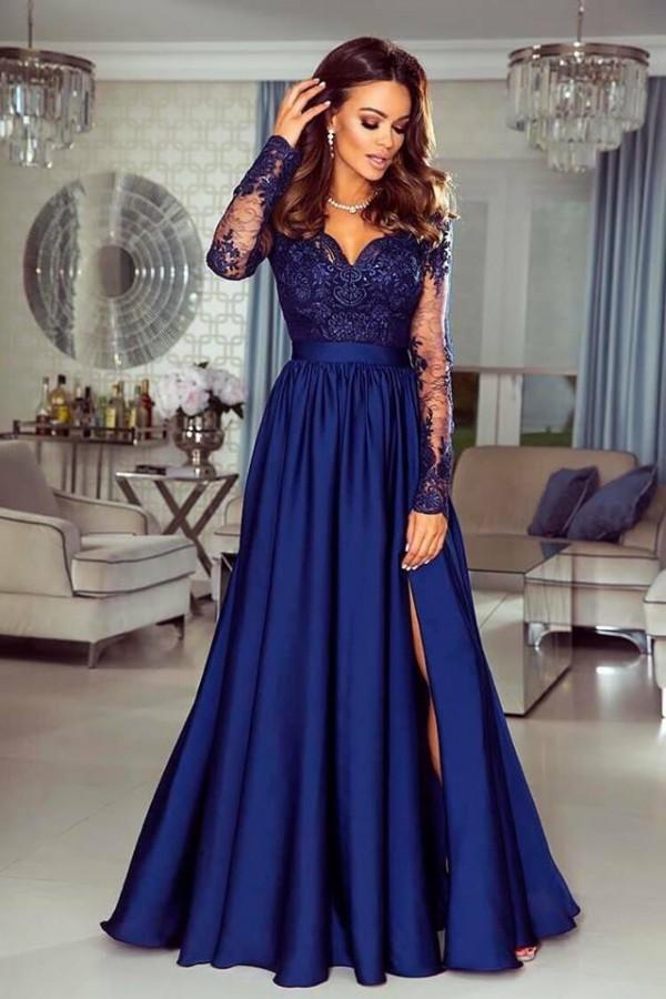 97b92b63568d Luna dress tmavomodré - Luxusné spoločenské šaty