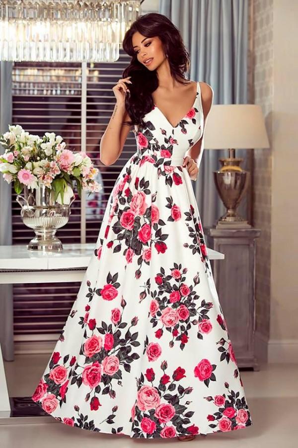 a898707061f5 Megi bielo-ružové - Luxusné spoločenské šaty